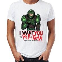 Marvel мужские футболки Doom Guy Want You To Rip and Tear Gamer Awesome Art печатные футболки High Street
