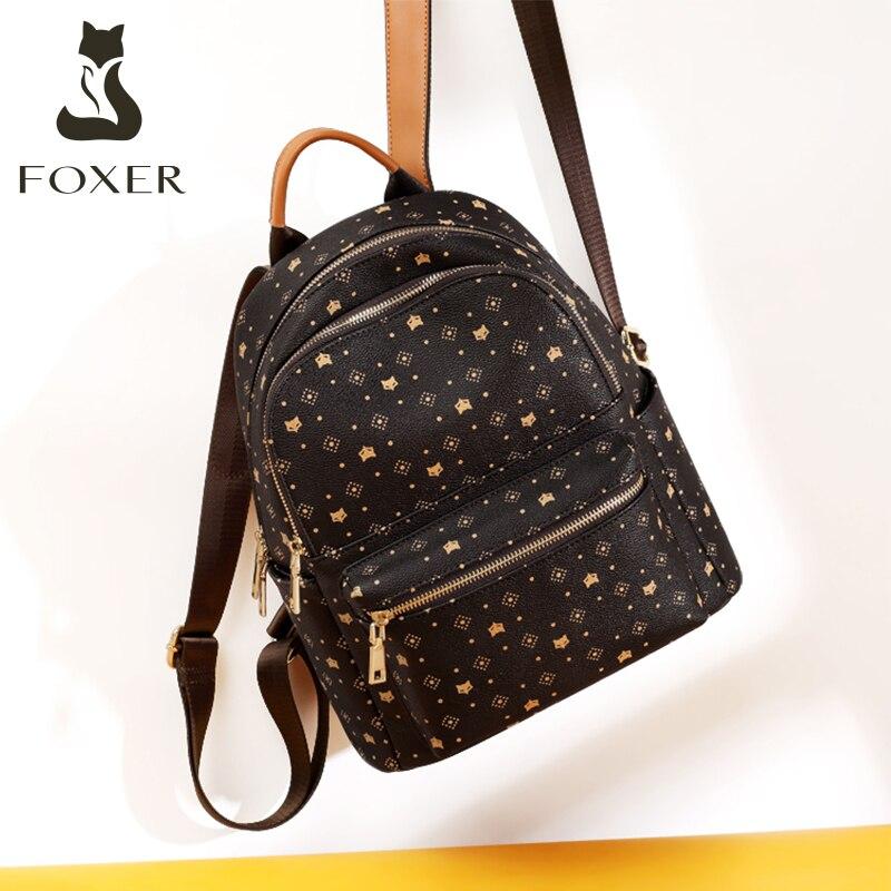 FOXER-حقيبة ظهر كلاسيكية بحروف مونوغرام للنساء ، حقيبة سفر من الجلد PVC بسعة كبيرة