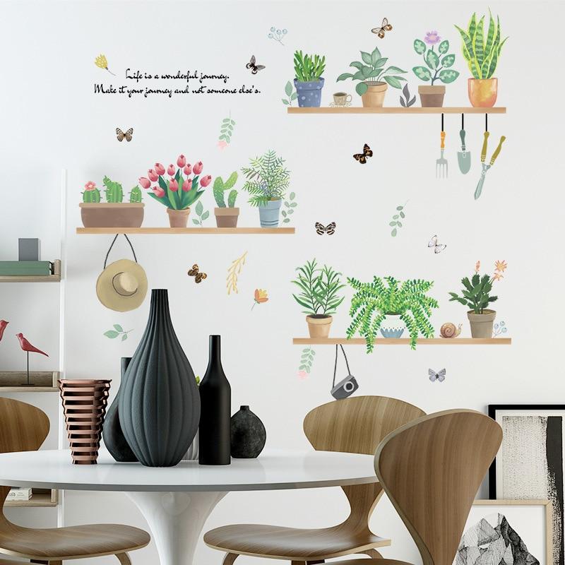 Flor Mariposa Etiqueta de pared de PVC jardín plantas en maceta Cactus pared calcomanías Ventana de vidrio pintado dormitorio casa habitación Decoración