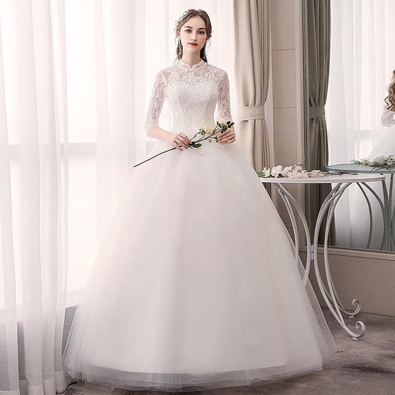 White Cheap Wedding Dresses Half Sleeve High Neck Lace Appliques Ball Gown Elegant Wedding Gowns For Bride Vestido Novia 2020