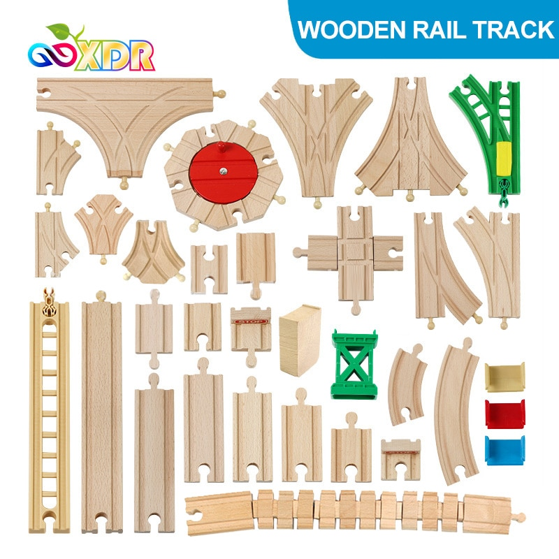 Dzieci drewniany pociąg kolejowy utwór zabawka dla dzieci DIY buk utwór akcesoria kompatybilny z Tomas i jego koledzy tor kolejowy zestaw zabawek