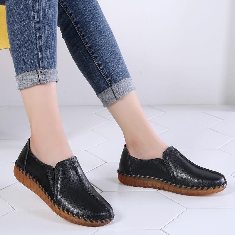 2020 Autumn Women Flats Shoes Handmade Genuine Leather Slip-on Woman Moccasins Ladies Oxfords Ballerina