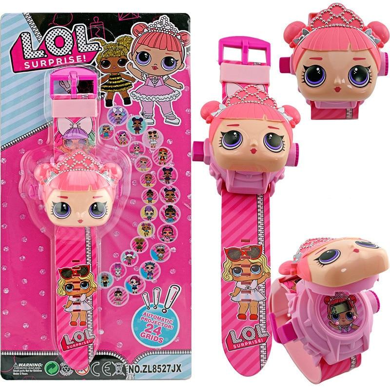 LOL dolls surprise 3D proyección dibujos animados niños relojes Anime figura educativa niños niñas reloj niños juguetes 2S07