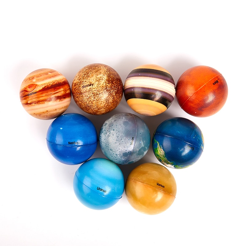 9 шт. планет Луна Звезда мяч игрушка красочный надувной губчатый эластичный мяч с принтом