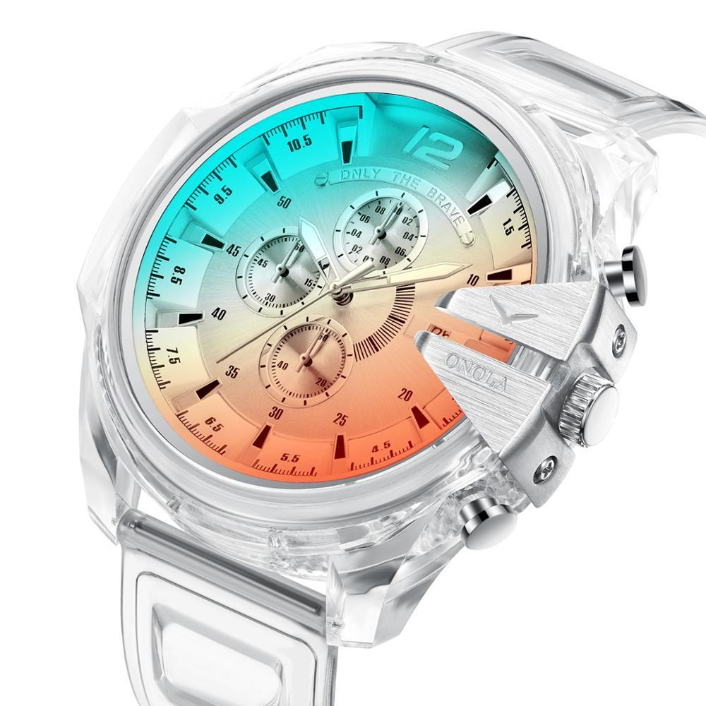 Relógio de Quartzo para Masculino Relógios Masculinos Grande Estilo Topo Marca Luxo Ilusão Silicone Banda Pulso Militar Relógio Masculino dz