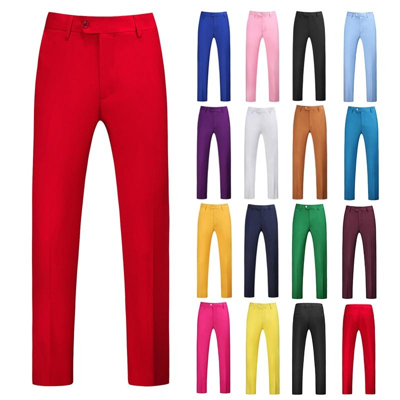 YASUGUOJI Mens Pure Color Business Occupation Slim Fit Dress Office Trousers Mens Dress Formal Suit Pants Casual For Men