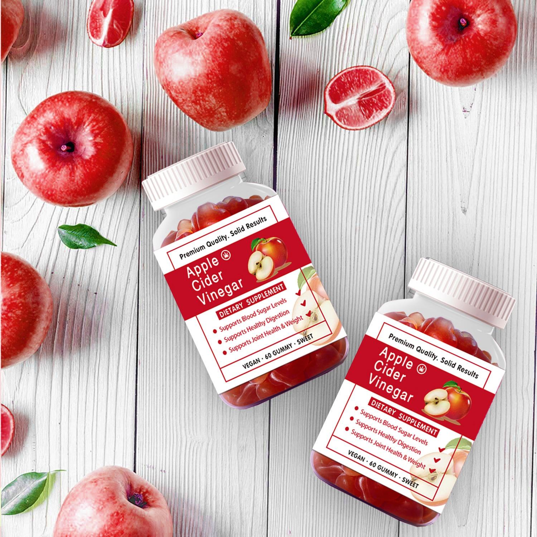 60pcs Apple Cider Vinegar Gummy Vitamins B9 B12 Organic Beet Root Pomegranate Gummies for Detox Cleanse & Weight Management