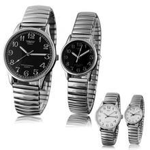 Fashion Casual Watch Digital Men Women Couple Lover Elastic Alloy Quartz Analog Wrist Watch Clock Gi