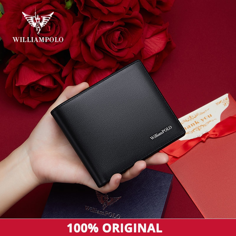WILLIAMPOLO Purse For Men Card Holder Genuine Leather Mini Purse Casual Design Bifold Wallet Short Small Pouch Gift 211545