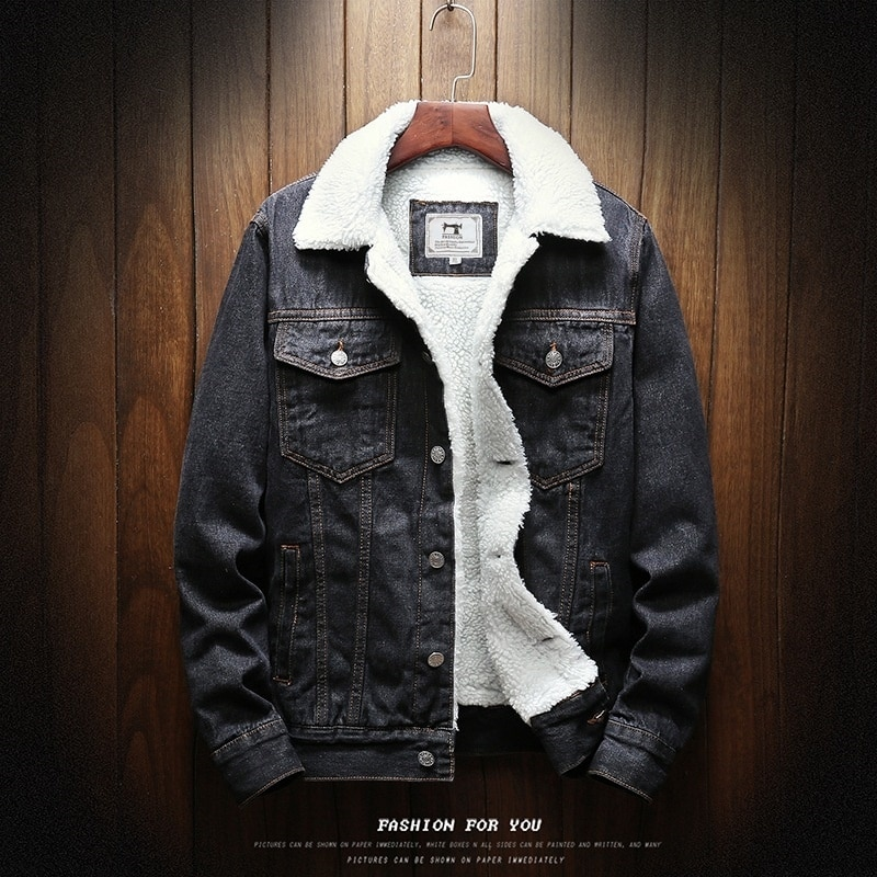 Long sleeve denim jacket with wool collar for men in autumn and winter of 20
