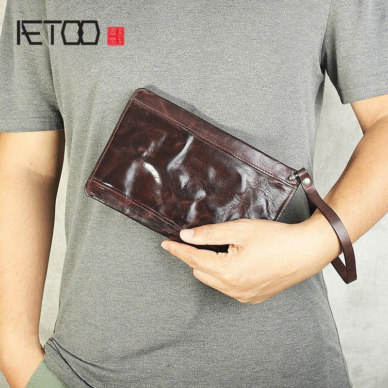 AETOO Retro-محفظة طويلة مجعدة ، مقبض بسحاب ، جلد البقر المصقول