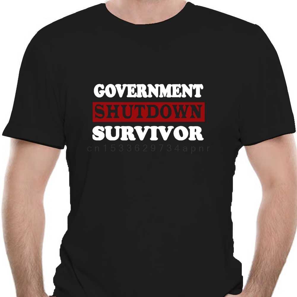 Government Shutdown Survivor Funny Furlough T Shirt Black Clothes For Men Women