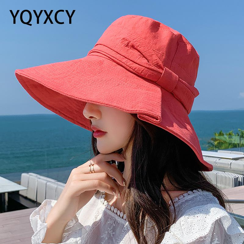 YQYXCY Bucket Hat Women Summer Spring Fisherman Cap Cotton Bow Outdoor Sunscreen Foldable Simple Floppy Sun Hat Female Casual braided tassel floppy felt hat
