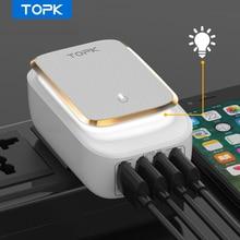 TOPK 4-Port 4.4A(Max) 22W ab USB şarj adaptörü LED lamba otomatik kimlik taşınabilir telefon seyahat duvar şarj iPhone Samsung için