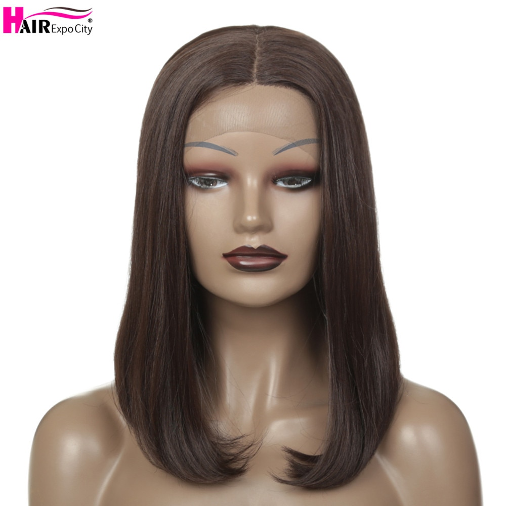 14inch Short Bob Lace Front Wigs Straight Synthetic Hair Wig Brown Black Lace  Wigs For Women Heat Reaistant Hair Expo City