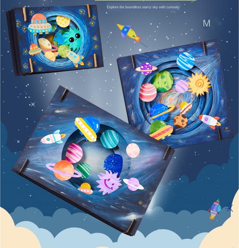 DIY Vast Starry Sky Craft Toys For Children Lovely Dinosaur Children Handmade Crafts For Kids Intera