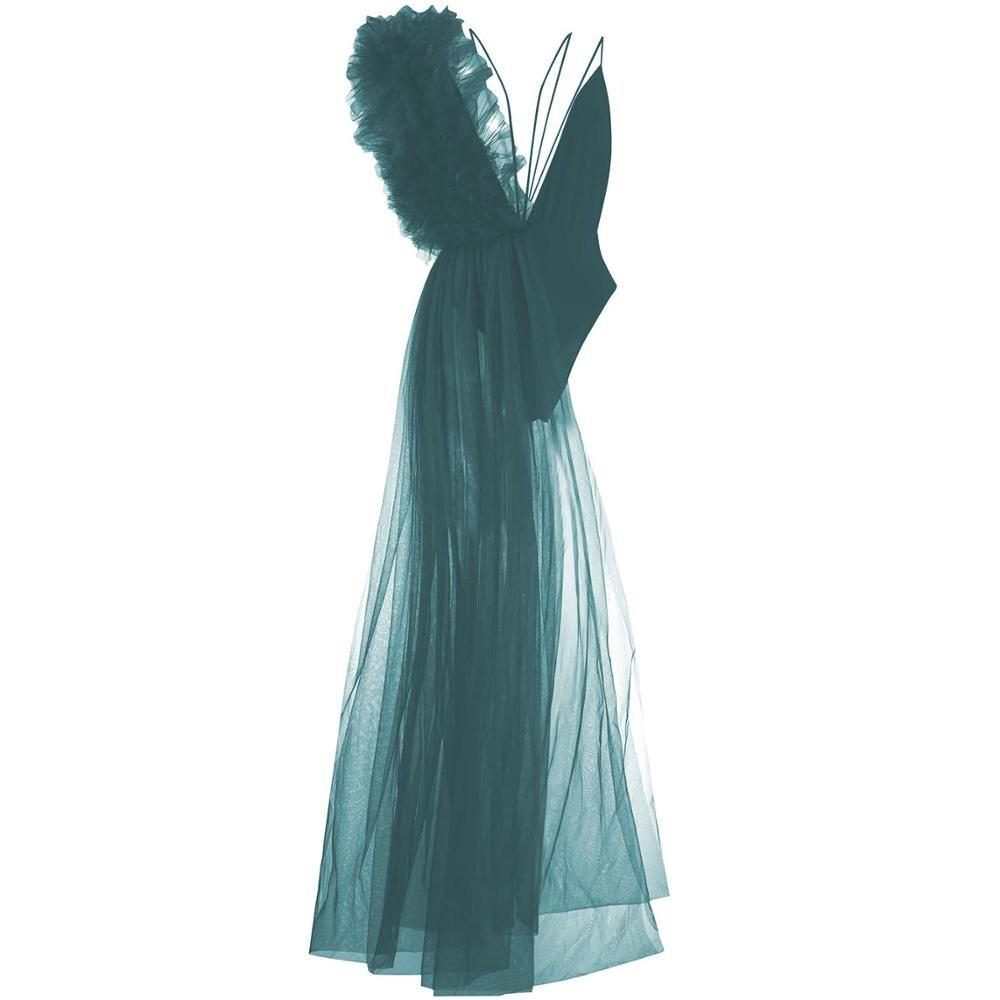 بدلة نسائية جديدة غير متماثلة صيفية مكشكشة من قماش التل الشبكي بدلة نسائية مثيرة بدون ظهر بدلة نسائية موضة 2020