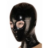 sexy latex mask rubber hood handmade with open eye and mouth back zipper women cosplay costumes