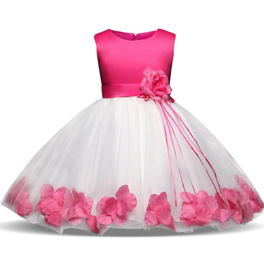 Malha flor pétala crianças vestido para a menina do bebê da criança rendas tutu vestido de princesa festa aniversário vestido crianças roupas lc22239