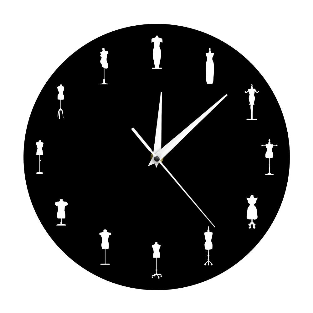 متجر للأزياء خياطة ديكورات للحائط دمى خياط مصممة مبدع ساعة حائط عارضة أزياء ساعة حائط خياطين فستان دمية أشكال