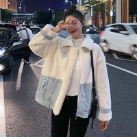 patchwork denim faux fur coat women autumn winter fashion turn down collar white furry jackets vintage plush coats mujer