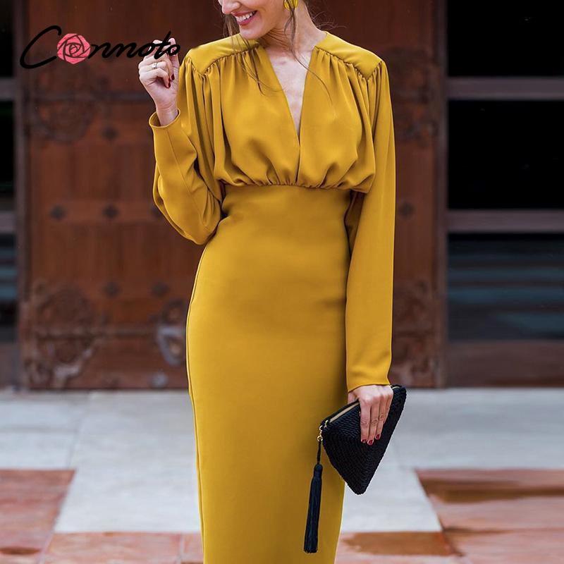 Conmoto Elegant v neck bodycon spring women dress Vintage batwing sleeve office lady party dress High waist slim  retro dresses