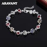 925 silver square clear cz zircon link chain charm bracelets for women wedding jewelry gift