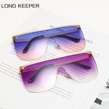 LongKeeper Oversized Square Sunglasses Women Men Brand Designer Flat Top Sun Glasses Female Travel D