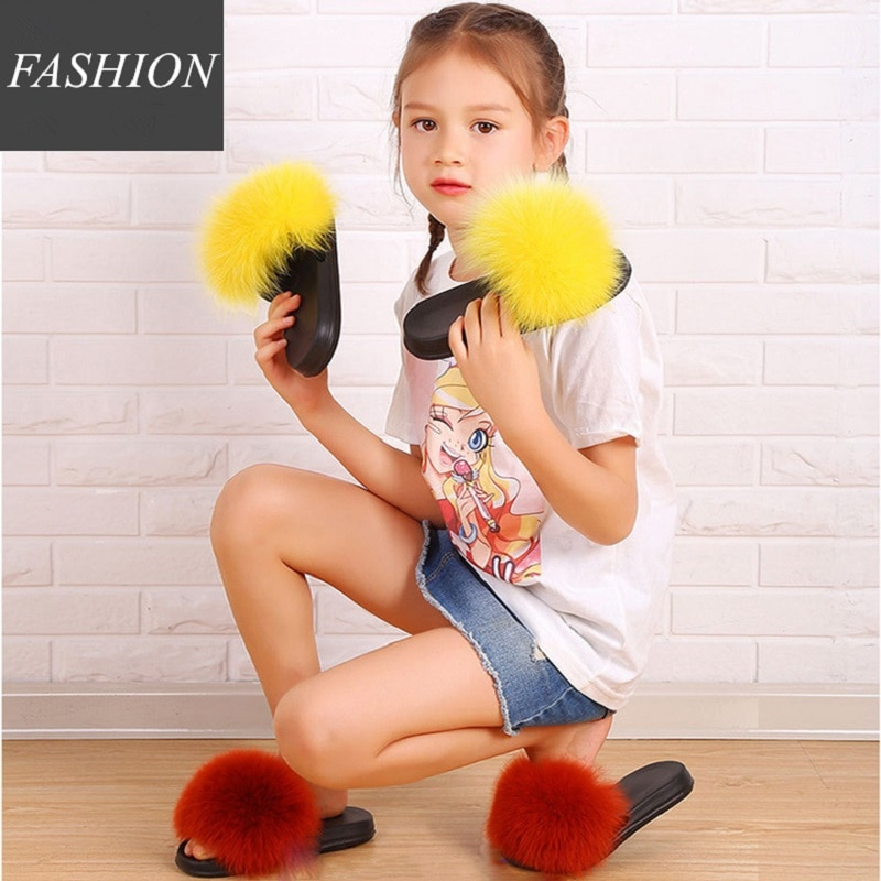 Kid Summer Faux Fur Slides Outdoor Fluffy Slippers Children Furry Beach Sandals Kid Fake Fur Flip Flops Girl Plush Sliders Shoes faux pearl espadrille flatform sliders
