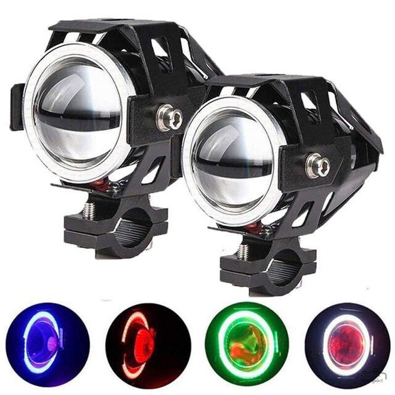 Muxall 2 uds 125W 12V motocicleta faro 3000LM moto spotlight U7 LED conducción foco de luz antiniebla delantero Lámpara decorativa 4,6