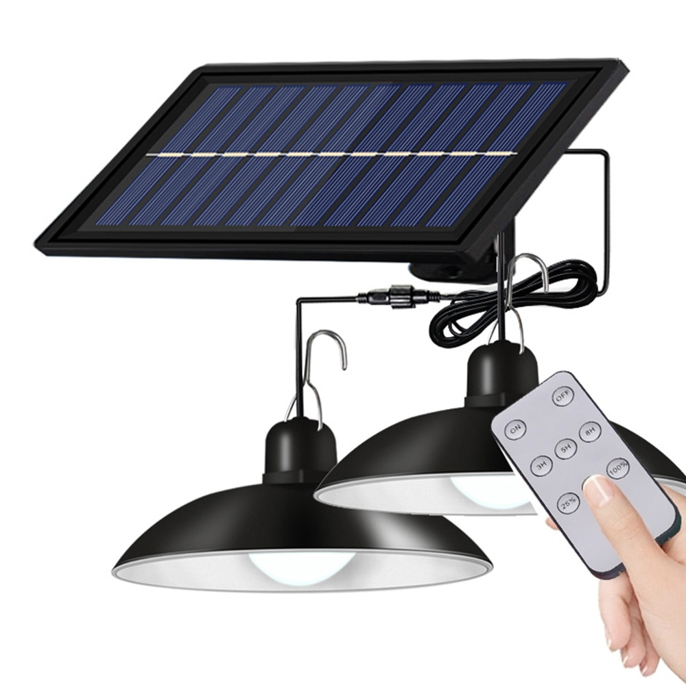Solar Pendant Lights Double Single Head Hanging Lamp With Warm White Light For Indoor Outdoor Garden Patio Decor