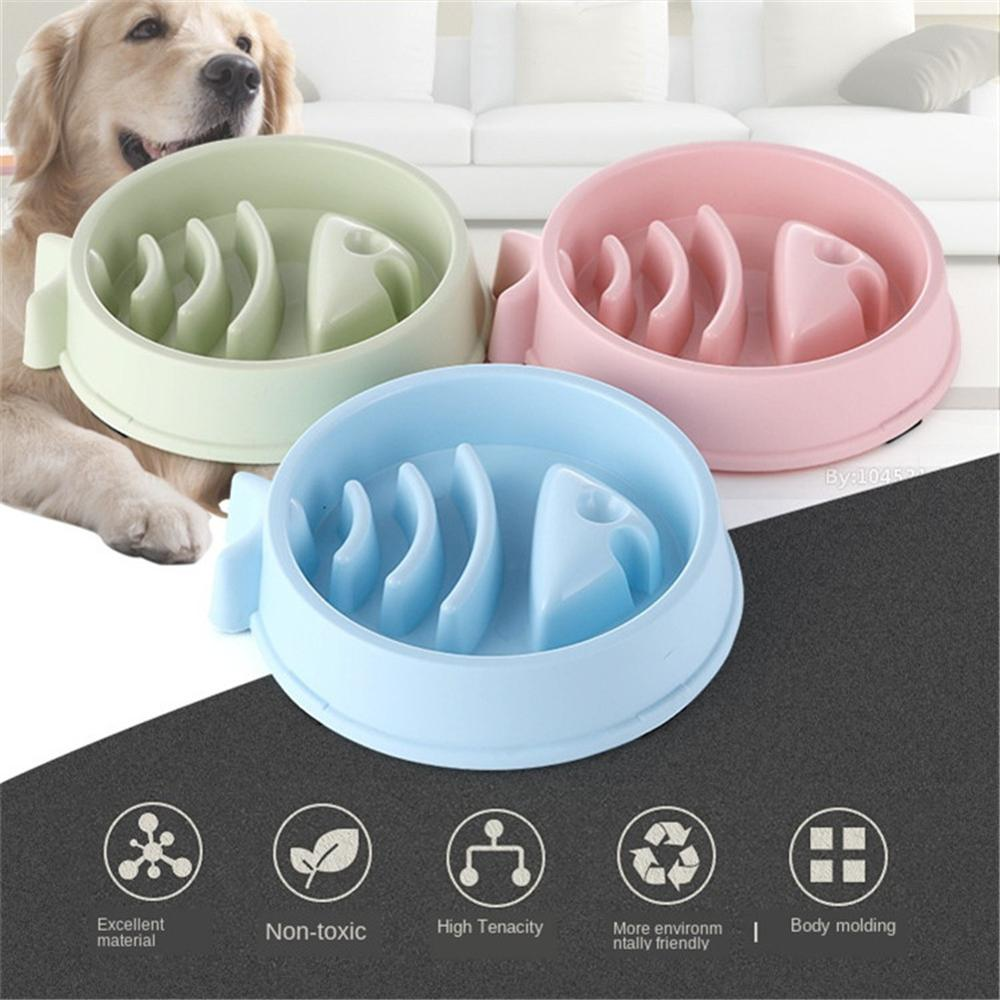 Pet Slow Eating Feeder Fish Bone Shape Dog Bowl Dog Feeding Food Bowls Bloat Stop Healthy Interactive Puppy Food Plate Dishes