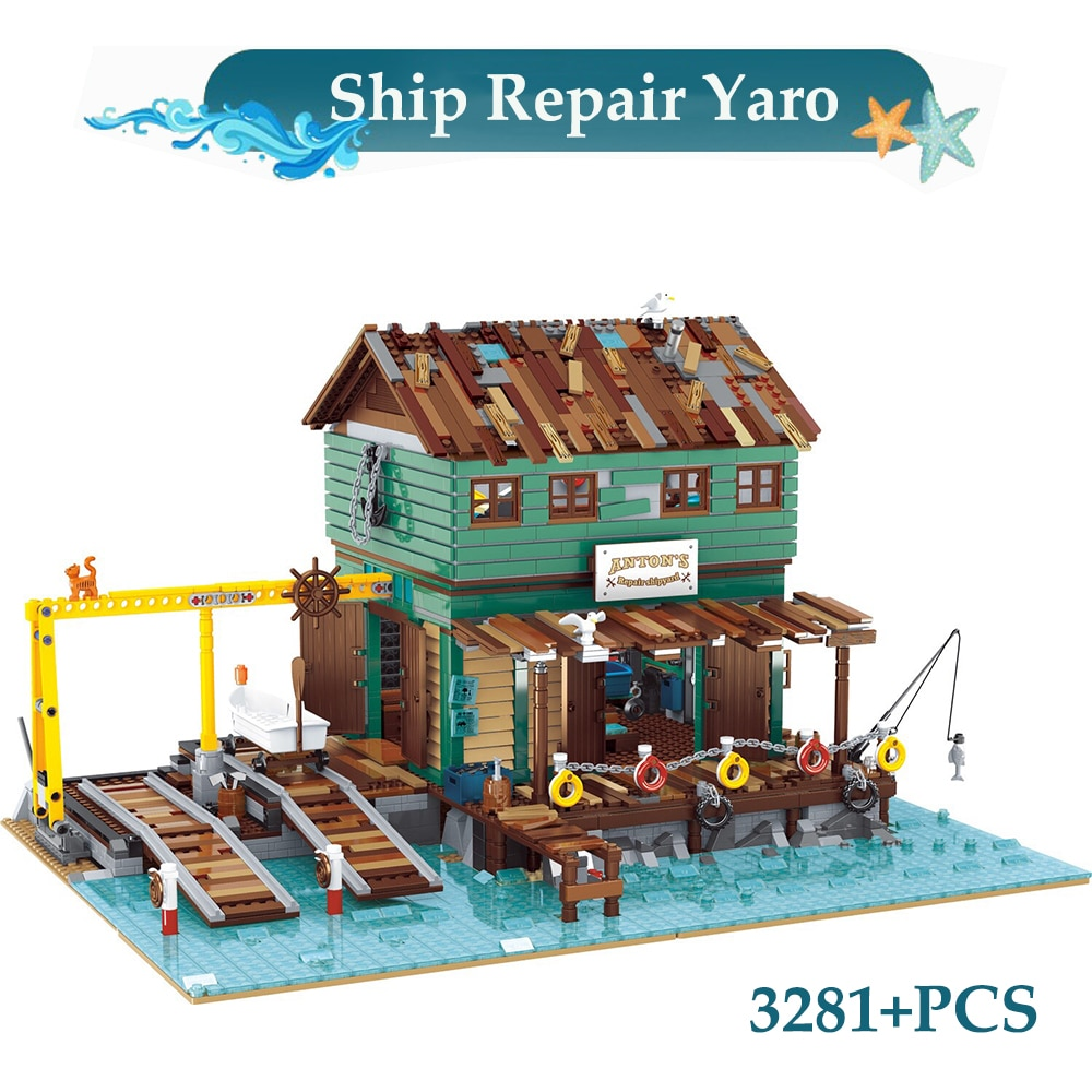 Moc سلسلة صياد سفينة إصلاح حوض بناء السفن كتل القباطرة رصيف التجمع العمارة الطوب لعب للأطفال