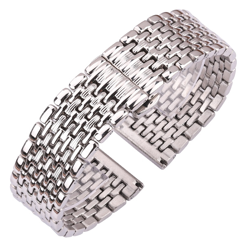 Stainless Steel Watch Band Bracelet Women Men 16mm 18mm 20mm 22mm Silver Straight End Watchband Strap Watch Accessories stainless steel watchband bracelet 20mm 22mm men metal brushed curved end watch band strap clocks accessories