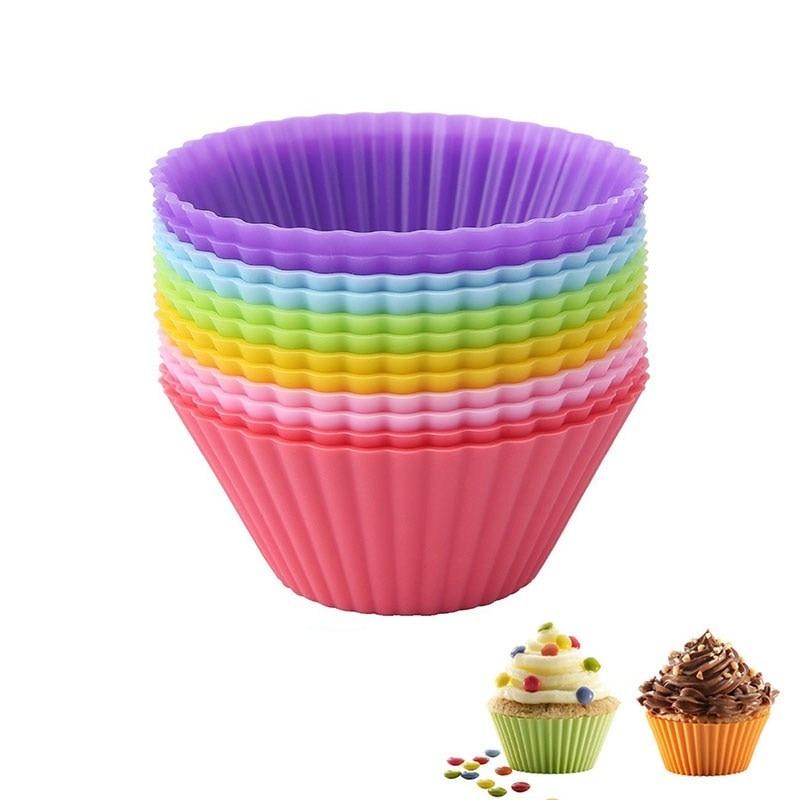 Ferramenta de bolo de cupcake de silicone em 12 peças, molde de silicone para assar bolos, cupcake e cupcake de muffin para diy cor #25,
