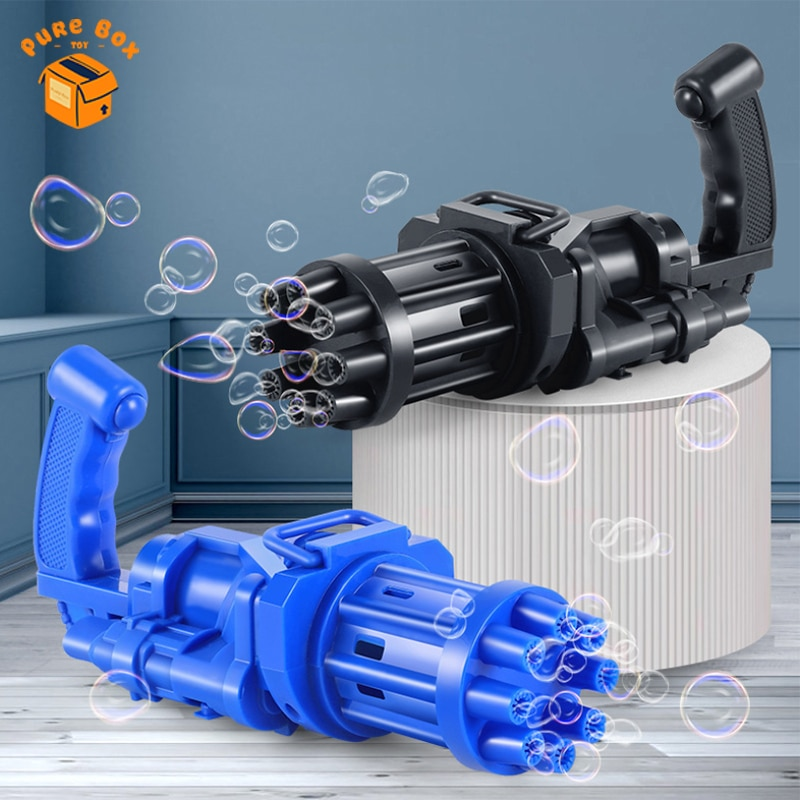 bubble machine automatic gatling bubble gun toy summer soap water electric bubble blower shooter toy for kids gift Kids Toy Gatling Bubble Gun Summer Electric Automatic Soap Water Bubble Machine Blower For Children Gift Outdoor Toys