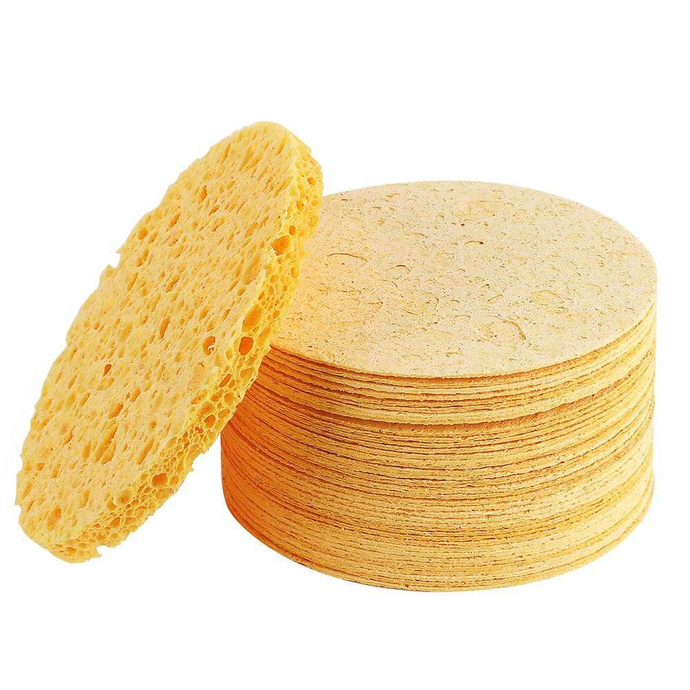 3 uds cara redonda removedor de maquillaje herramienta Natural madera pulpa esponja de celulosa comprimir cosmético Puff Facial lavar esponja