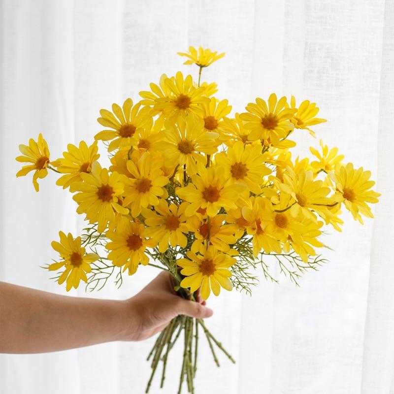 10 unids/lote de margaritas simulación ramo de camomila decoración del hogar crisantemo flor falsa pequeño crisantemo holandés fresco