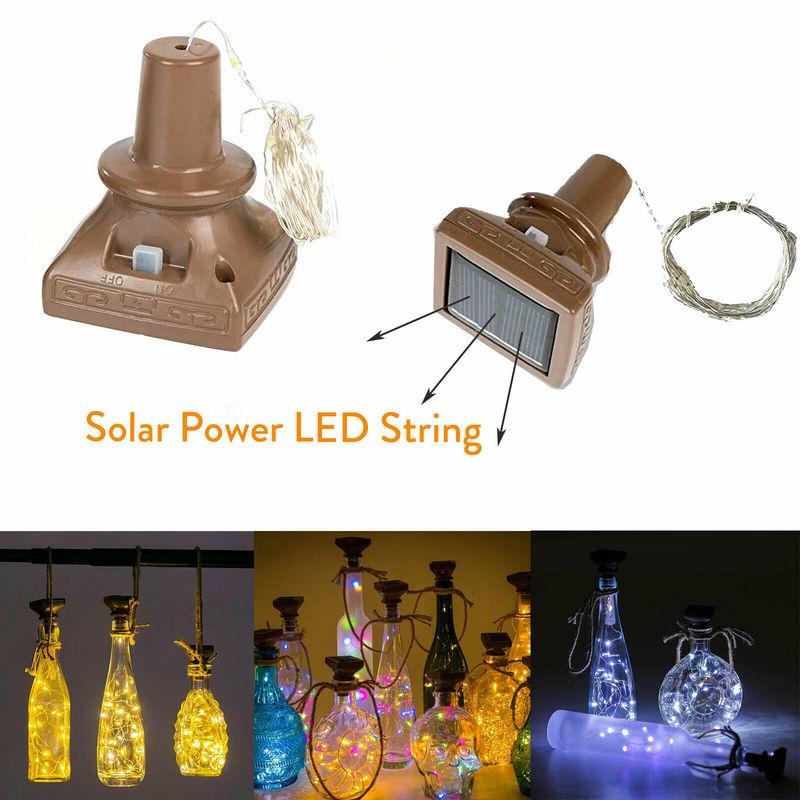 Светильники в форме винных бутылок на солнечной батарее, 10, 20 светодиодов, медные светильники-пробка, мини медные гирлянды для винных бутыло...