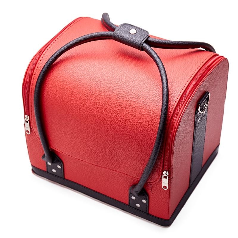سعة كبيرة المهنية المحمولة حقيبة مستحضرات التجميل المحمولة الأدوات متعددة الطبقات مسمار الوشم شبه دائمة المكياج حقيبة