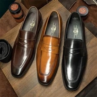 men fashion trend business casual party dress shoes handmade solid color pu polished face mask square toe classic loafers 7kg521