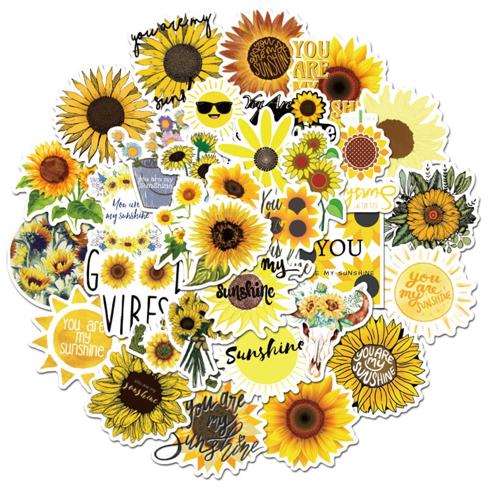 10/30/50PCS Sunflower You Are my Sunshine Stickers Skateboard Guitar Laptop Motorcycle Travel Luggage Classic Toy Sticker Decal