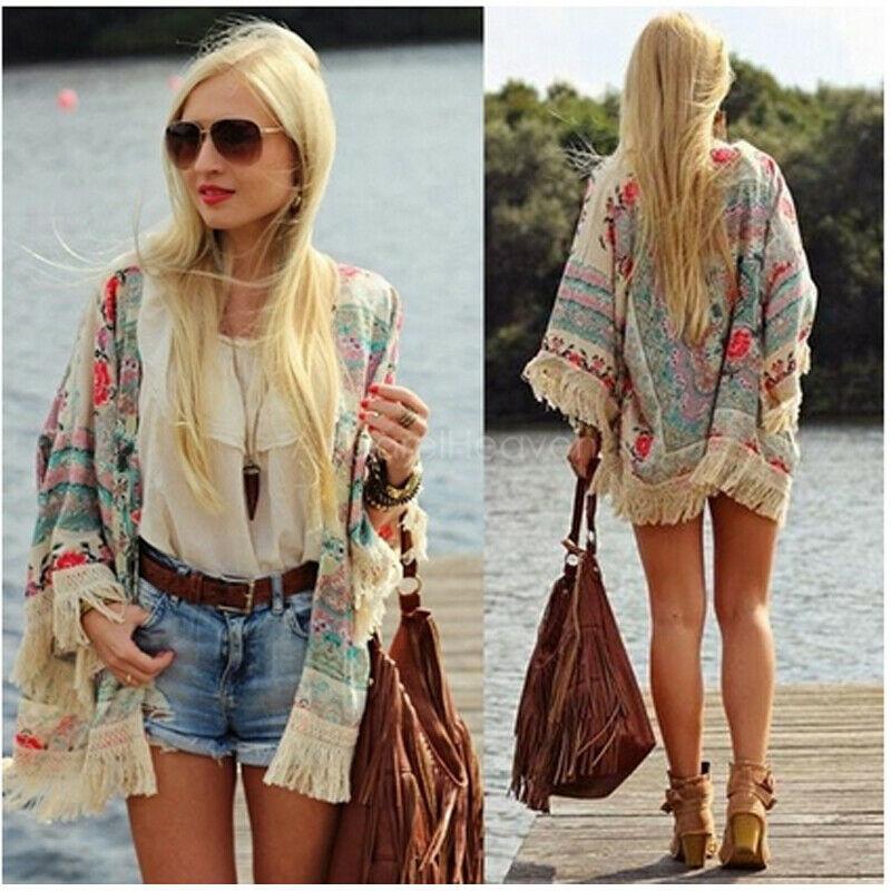 Brand New Women Boho Fringe Floral Kimono Cardigan Tassels Beach Cover Up Cape Jacket Long Blouse Tops