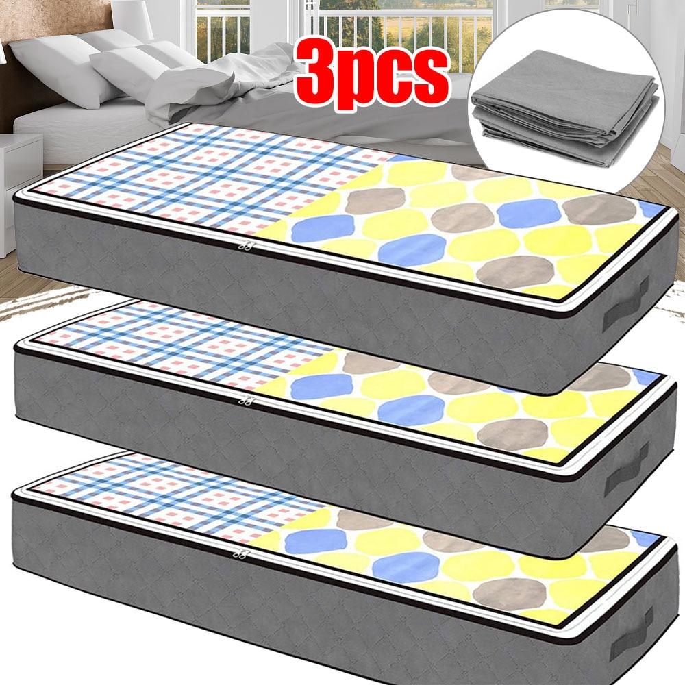 3x 28*27*6 سنتيمتر حقيبة التخزين للملابس بطانية المحمولة غير المنسوجة سرير قابل للطي أسفل صندوق تخزين المنظم الغبار التشطيب حقيبة