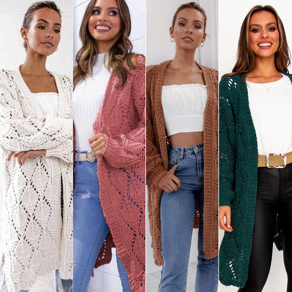 Plus Size Solid Long Sleeve Cardigan Sweater Women Female Warm Coat 2019 Autumn Winter Casual Runway Knitted Sweaters Streetwear