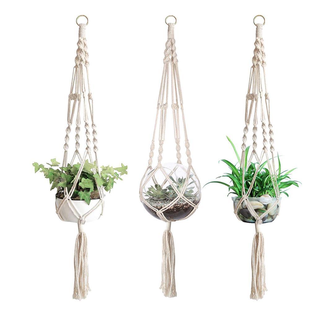 3 uds macramé para planta colgador cesta enchufe de techo maceta para interior hogar jardín decoración maceta macramé colgante cuerda