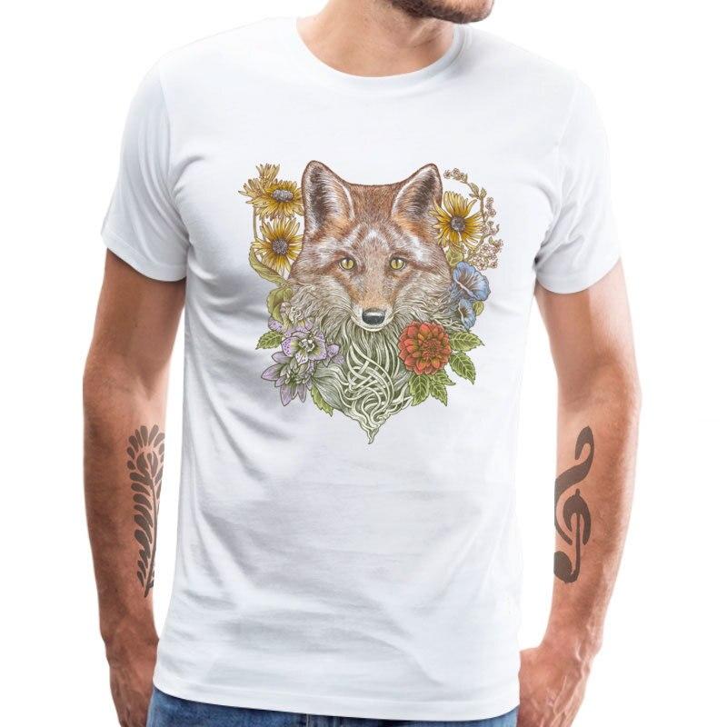 100% algodão t-shirts dos homens da parte superior do verão floral tshirt nova idéia presente t camisas casuais raposa jardim manga curta