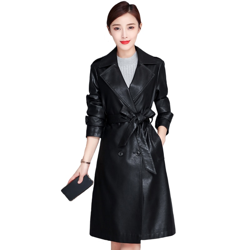 Autumn Winter Long Faux Leather Jacket Women Black Pu Leather Coat Female Fashion Women Windbreaker with Belt female costume emberens 4217 striped handsome casual with belt autumn winter российское production delivery from russia