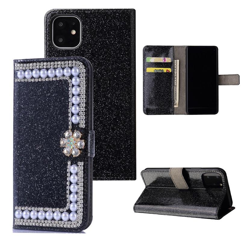 Pérola diamante flip couro caso carteira para iphone 11 pro max se 2020 6s 7 8 plus x 10 xr xs max casos de telefone para samsung huawei