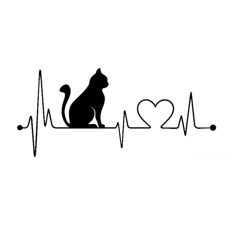 Car Sticker Pet Cat Heartbeat Lifeline Creative Truck Automobiles Motorcycles Exterior Accessories Vinyl Decals,20cm*8.9cm